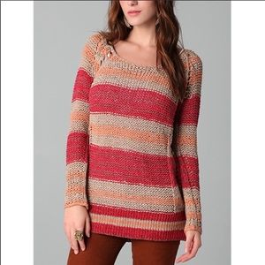 Free People Striped Desert Moon Loose Knit Top